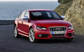 Обои Audi, Красный, Море, Машина, Седан, Фары, Передок