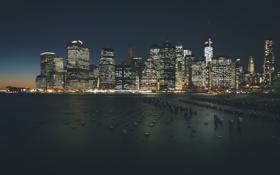 Обои ночь, город, вид, здания, дома, Нью-Йорк, небоскребы