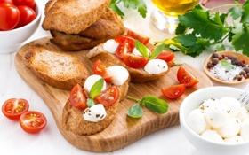 Картинка помидоры, петрушка, базилик, моцарелла, брускетта