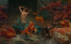 Обои листья, девушка, рыбки, рыбы, дождь, тату, арт