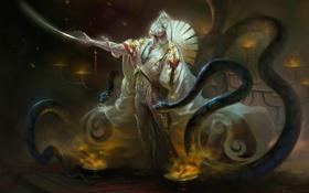 Обои змеи, огонь, меч, маска, Воин