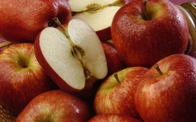 Обои сочный, капельки, яблоки