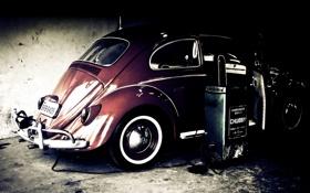 Обои фото, фон, обои, заправка, wallpapers, фольксваген жук, volkswagen käfer
