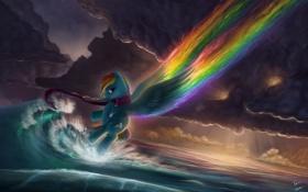 Обои море, облака, мультфильм, пони