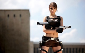 Картинка взгляд, девушка, оружие, Tomb Raider, экипировка, cosplay, Lara Croft