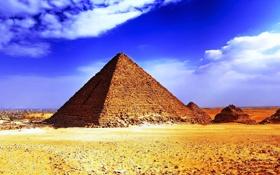 Обои песок, солнце, пустыня, жара, пирамиды, египет