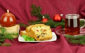 Картинка шарики, ветки, чай, елка, свечи, Новый Год, Рождество