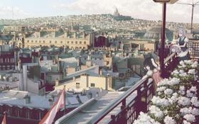Обои город, аниме, девочка, балкон