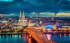 Обои мост, город, огни, река, вечер, Германия, Кёльнский собор