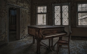 Обои музыка, стул, пианино