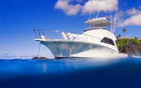 Обои океан, голубой, отдых, яхта, якорь, белоснежная