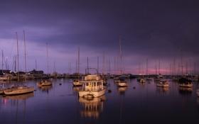 Картинка море, фиолетовый, небо, цвета, вода, закат, гладь