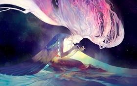 Картинка вода, звезды, ночь, сияние, Длинные волосы