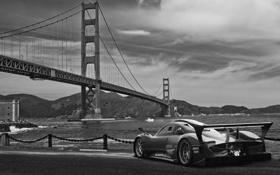 Картинка небо, Golden Gate Bridge, Сан Франциско, набережная, sea, San Francisco, чёрно-белое фото