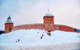 Обои зима, снег, дети, город, обои, башня, кремль