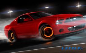 Обои мустанг, дрифт, drift, ford, ford mustang, форд мустанг, red car