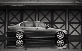 Картинка отражение, бмв, BMW, серая, E46, 3 серия, 325