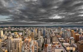 Обои skyline, clouds, Vancouver