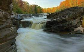Картинка лес, река, скалы, небо, поток, пороги, осень