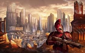 Картинка город, оружие, воин, арт, мегаполис, доспех