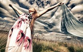 Обои лето, небо, девушка, настроение