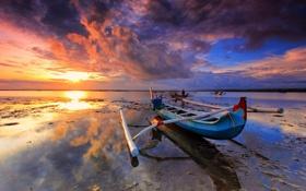 Обои небо, закат, отражение, океан, лодка, Тайланд