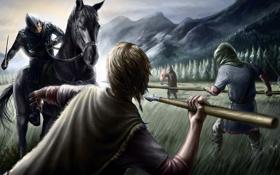 Обои фантастика, лошадь, доспехи, бой, арт, всадник, копья
