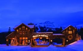 Обои city, город, USA, Christmas, California, South Lake Tahoe