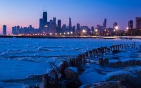 Обои зима, ночь, город, chicago