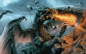Обои fire, mountain, dragon, Angels, chains