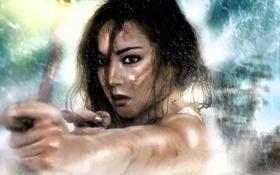 Обои взгляд, девушка, лицо, оружие, дождь, лук, арт