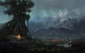 Картинка горы, река, дерево, человек, вечер, арт, нарисованный пейзаж