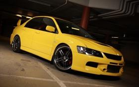 Обои auto, жёлтого цвета, Mitsubishi lancer