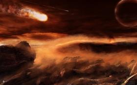 Картинка огонь, облака, метеорит, скалы, небо, планета, иной мир