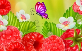 Обои цветы, природа, ягоды, малина, коллаж, бабочка, открытка