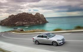 Обои Mercedes-Benz, Небо, Облака, Море, Дорога, Серый, E-Class