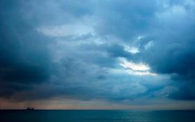 Картинка море, облака, тучи, корабль, додждь