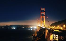 Обои ночь, мост, GoldenGate
