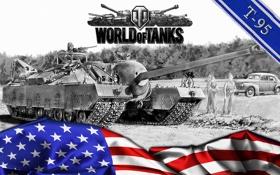 Обои World of tanks, WoT, самоходно-артиллерийская установка, мир танков, пт-сау, T-95