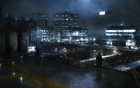 Картинка ночь, город, дождь, охрана, солдаты, Syndicate, территория