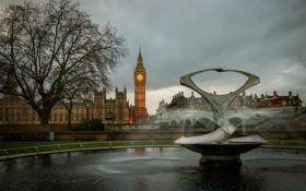 Картинка небо, тучи, Англия, Лондон, башня, фонтан