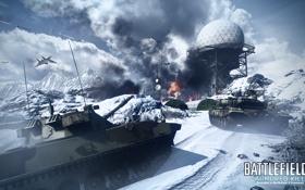 Картинка зима, авиация, горы, танки, Battlefield 3, premium, armored kill