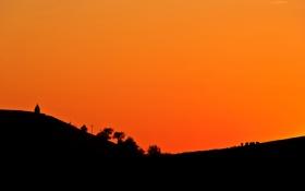 Обои закат, силуэт, небо, дом, деревья