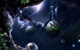 Обои ворон, планеты, archipelago