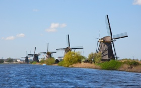 Обои небо, село, мельница, канал, нидерланды, Киндердейк, Kinderdijk