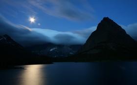 Обои небо, вода, горы, ночь, гладь, отражение, фото