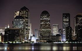 Картинка свет, ночь, город, огни, здания, Нью-Йорк, небоскребы