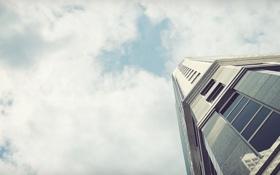Картинка небо, облака, здание, окна, небоскреб, стекла, Skyscraper