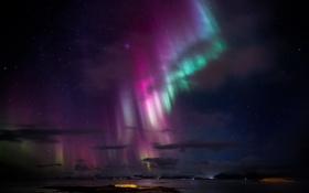 Картинка небо, звезды, ночь, северное сияние