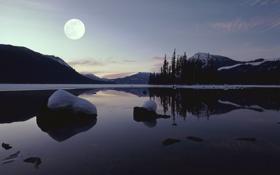 Картинка зима, небо, снег, пейзаж, горы, ночь, озеро